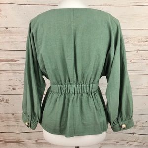 Zara Tops - Zara Linen Sage Green Peplum Balloon Sleeve Blouse